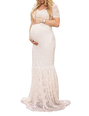 e26a092ba90 Frecoccialo Elégante Robe Sirène Grossesse pour Mariage Femme Maternité Longue  Col Large V avec Petites Manches Robe Epaule Dénudé en Dentelle pour ...