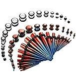 7 16 glass plugs - Thunaraz 54pcs Stretching Kit Acrylic Taper Kit with Plugs Double O-rings 14G-00G Red