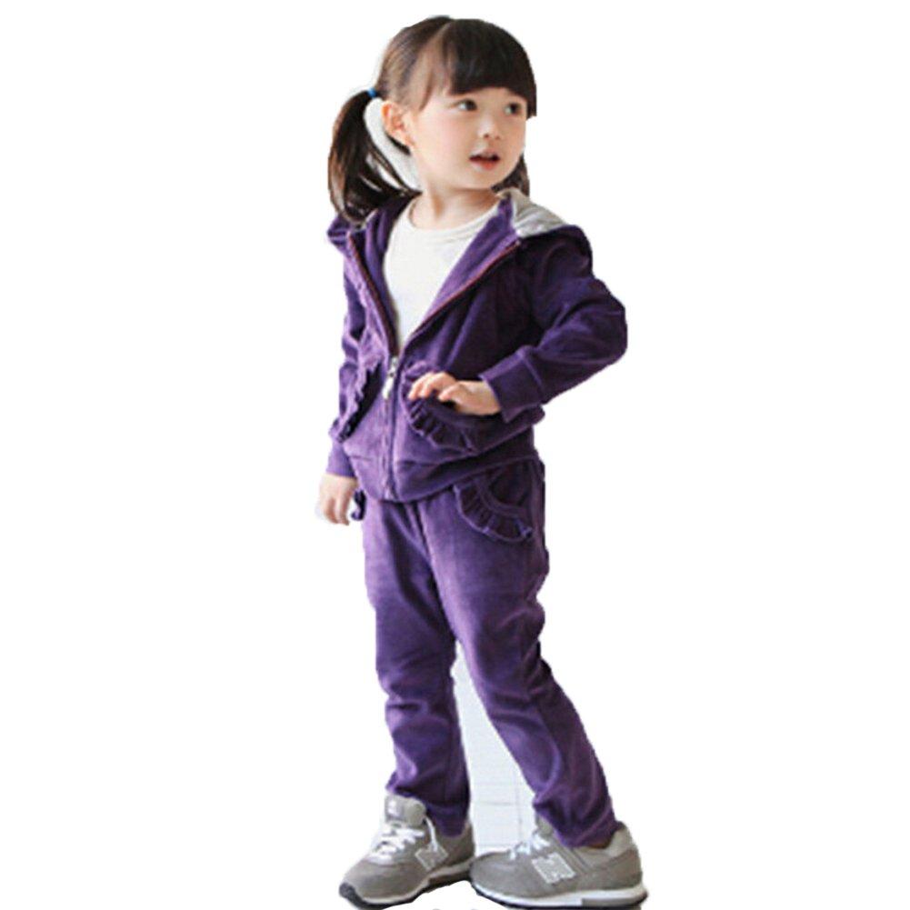 Banner Bonnie Little Girls' Velvet Long Zip Tracksuit Hoodie Sweat Sets 4-5 Years Purple-1