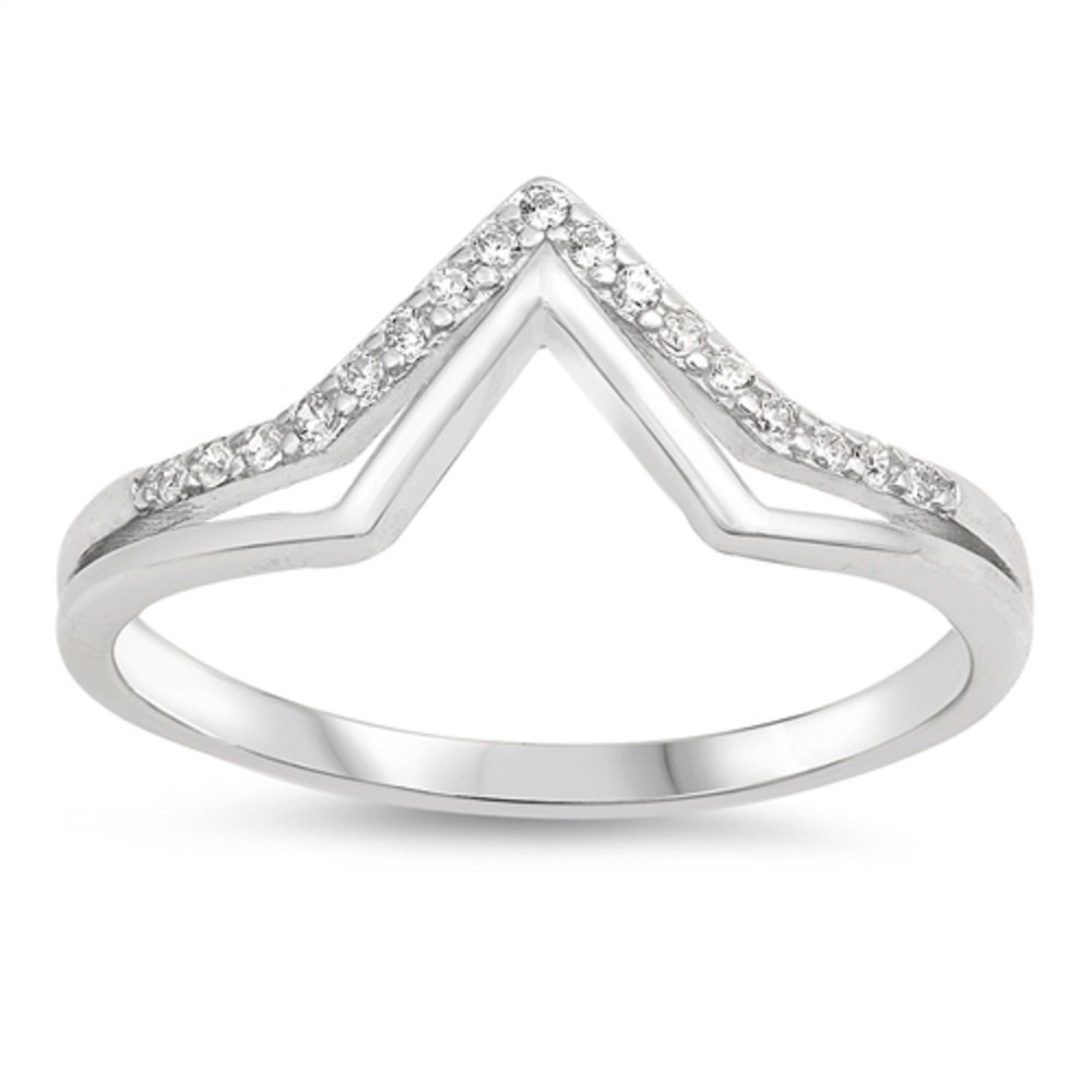 CloseoutWarehouse Clear Cibic Zirconia Double V Shape Ring Sterling Silver Size 7