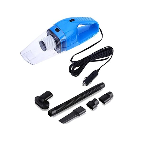Car Vacuum Cleaner High Power Vacuum Portable Mini Wet Dry Vacuum Cleaner For Car Truck SUV Desktop Dust Buster Crumbs Cleaner With   12.4Foot (3.8Meter) Cord 4000PA 120W 12V (Blue)   NUWA