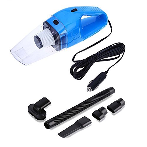Car Vacuum Cleaner High Power Vacuum Portable Mini Wet Dry Vacuum Cleaner for Car Truck SUV Desktop Dust Buster Crumbs Cleaner with   12.4Foot (3.8Meter) Cord 4000PA 120W 12V (Blue) – NUWA