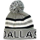 Dallas Adult Size Thick Warm Winter Knit Pom Beanie Hats (Gray/Black)