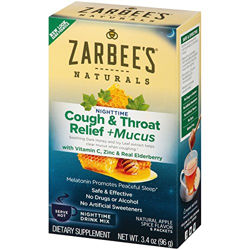 Zarbee's Naturals Cough & Throat Relief + Mucus Nighttime Drink Mix with Dark Honey, Vitamin C, Zinc & Real Elderberry, Natural Apple Spice Flavor, 6 Packets