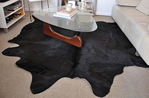 ecowhides Black Brazilian Cowhide Area Rug, Cowskin Leather Hide for Home Living Room (Large) 6 x 6 ft ()
