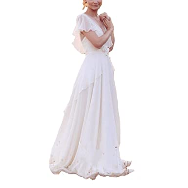 XPLE Gorgeous Chiffon Plus Size Country Wedding Dresses Back ...