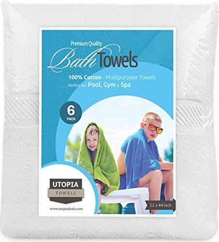 Cotton Pool Gym Bath Towels (6 Pack, 22 x 44 Inch) Light Multipurpose Quick Drying Towel by Utopia Towels - White