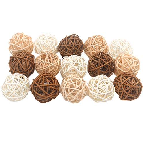 ALLHEARTDESIRES 15PCS Mixed Cream Tan Brown White Rattan Cane Wicker Wooden Ball Rustic Wedding Vintage Baby Shower Birthday Nursery ()