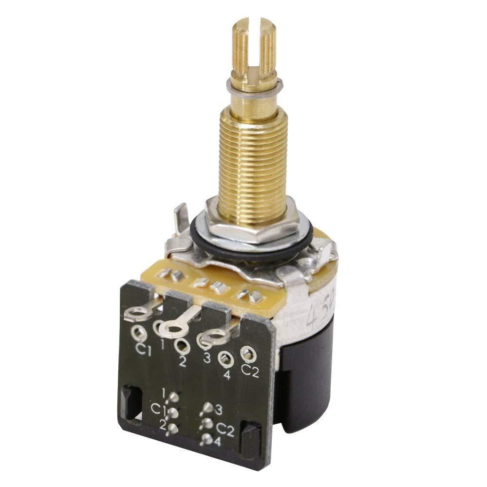 NEW Push Pull A500K DPDT Coarse Spline Split Shaft Audio Pot Potentiometer