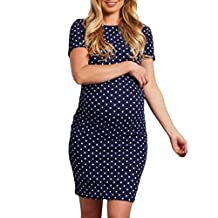 Alixyz Maternity Dress Ruched Fitted Short Sleeve Bodycon Wave Printed Mini Dress