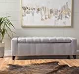 Eco friendly Storage Ottoman Bench Grey Bed End Footstool Button Tufted