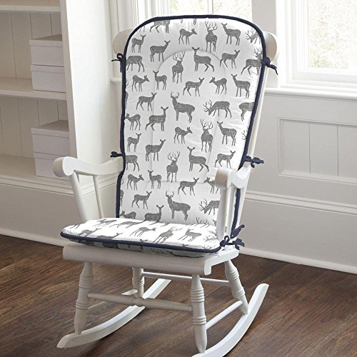Carousel Designs Gray and Navy Deer Rocking Chair Pad by Carousel Designs