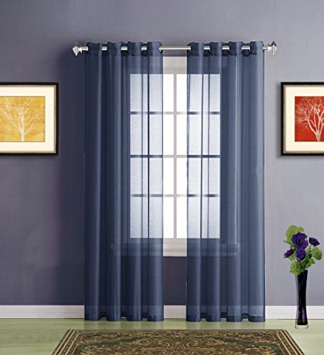 Warm Home Designs Long Navy Blue Sheer Window Curtains