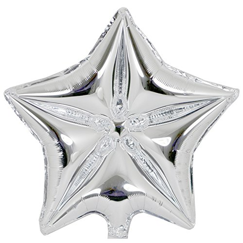 18In Star Shaped Air Filled Plain Foil Balloon  18In   Silver