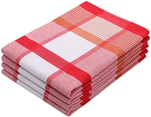 ZOLLNER 4 paños de Cocina algodón 100%, 50x70 cm a Cuadros Rojos ...