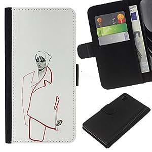 [Neutron-Star] Modelo colorido cuero de la carpeta del tirón del caso cubierta piel Holster Funda protecció Para Sony Xperia Z4v / Sony Xperia Z4 / E6508 [Fashion Minimalist Woman Couture]