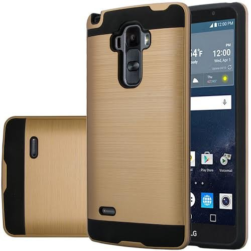 Lg G Stylo  Vista 2 Case   Wydan  Tm  Hybrid Hard Shockproof Case Heavy Duty Protective Brushed Phone Resilient Protector Cover   Gold On Black