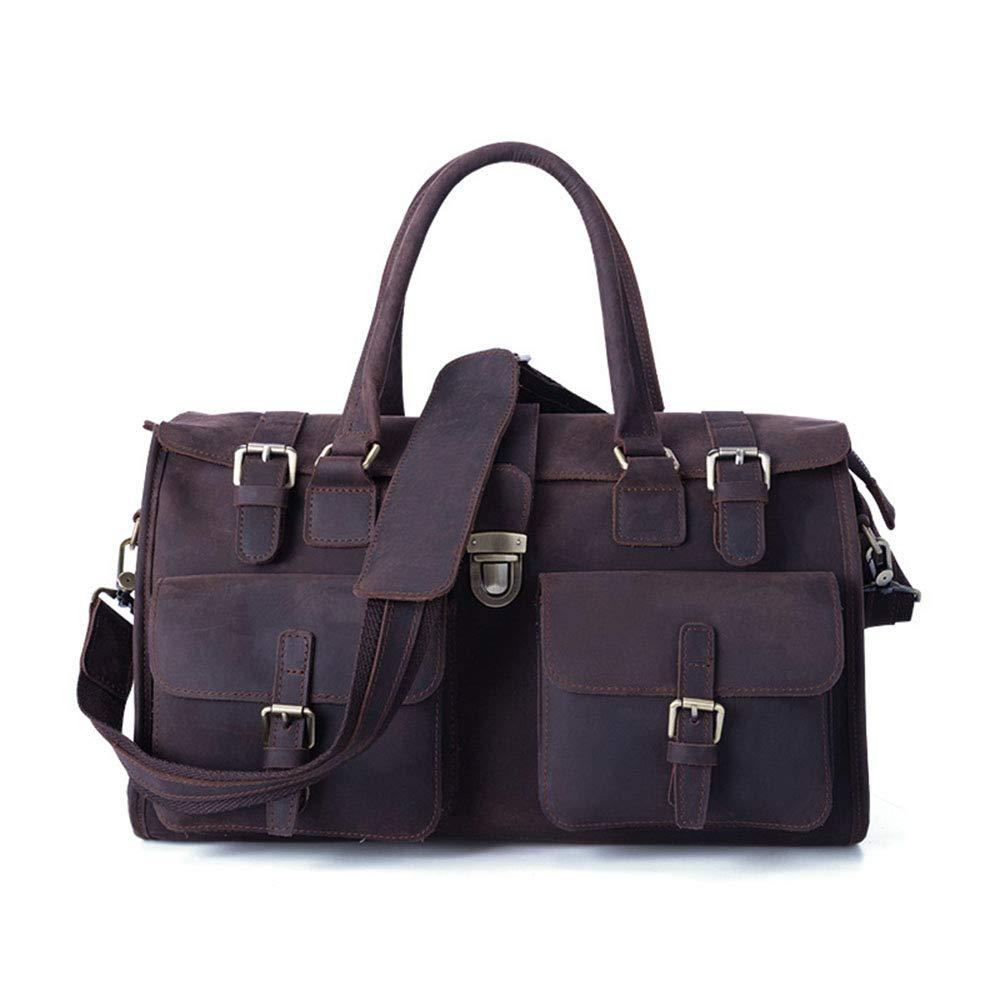 ハンドバッグ ファッションメンズレザー荷物バッグポータブルショルダーメッセンジャー多目的旅行ダッフルバッグ (色 : 褐色) B07QFTN14B 褐色