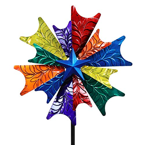 - Exhart Rainbow Windmill Garden Stake - Colorful Wind Dual Spinner w/Multicolored Dual Metal Spinners - Pinwheels Garden Decor w/Metal Blades in Red, Blue, Yellow & Green Color, 18