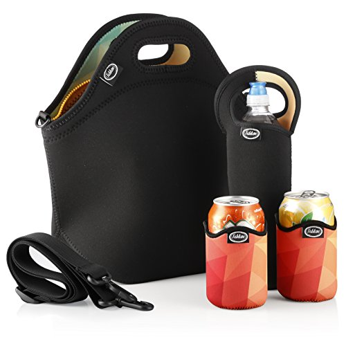 Neoprene Can Holder (Tabkoe Insulated Neoprene Lunch Bag Set with Tote, Bottle Sleeve, 2 Can Insulators & Adjustable Crossbody Shoulder Strap | Washable, Reusable, Stretchy, Extra Large Lunch Box (Black/colorful polygon))