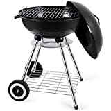 18 Inch Portable Charcoal Grill BBQ Grill Kettle Charcoal Barbecue Grill and Smoker Tailgating Small Outdoor Grills Round Standing Camping Grilling Heat Control Steel Cooking Grate for Steak Chicken
