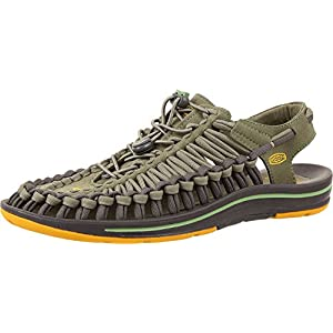Keen Uneek Flat Sandal - Men's Deep Lichen / Golden Yellow 10