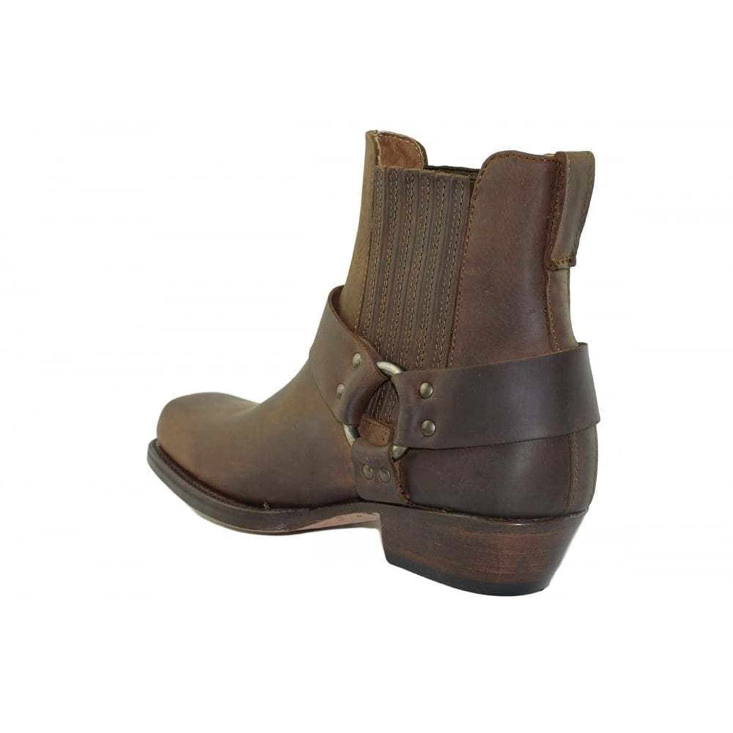 Loblan 096 Brown Leather Cowboy Ankle Boots Biker Western Square Chisel Toe  Boot: Amazon.co.uk: Shoes & Bags