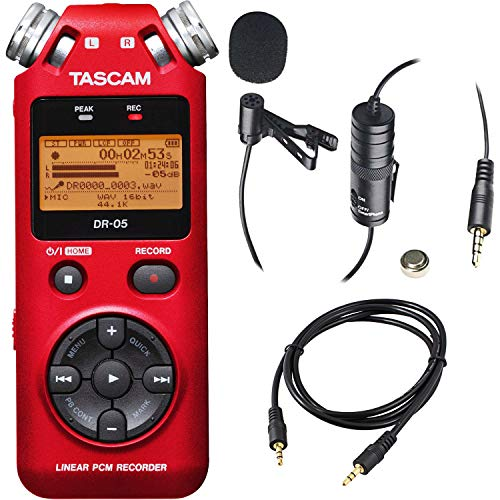 Tascam DR-05 Portable Handheld Digital Audio Recorder (Red) with Deluxe accessory bundle from Tascam