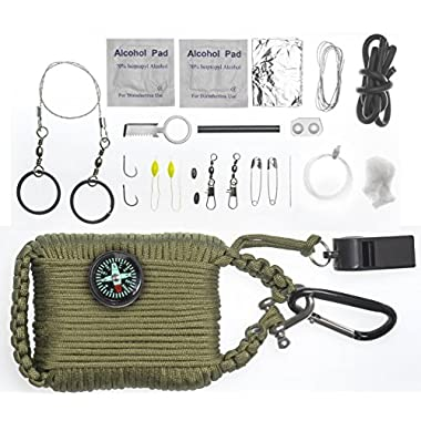 A2S Survival Gear Paracord 30pcs Emergency Kit First Aid Kit & Emergency Food finding Fishing Gear Compass Emergency Whistle Fire Starter set Survival Knife & more (Army Green, Large)