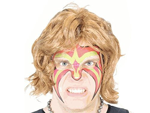 Wrestler Extreme Warrior Makeup Temporary Tattoo Ultimate Wig & Armbands Costume -