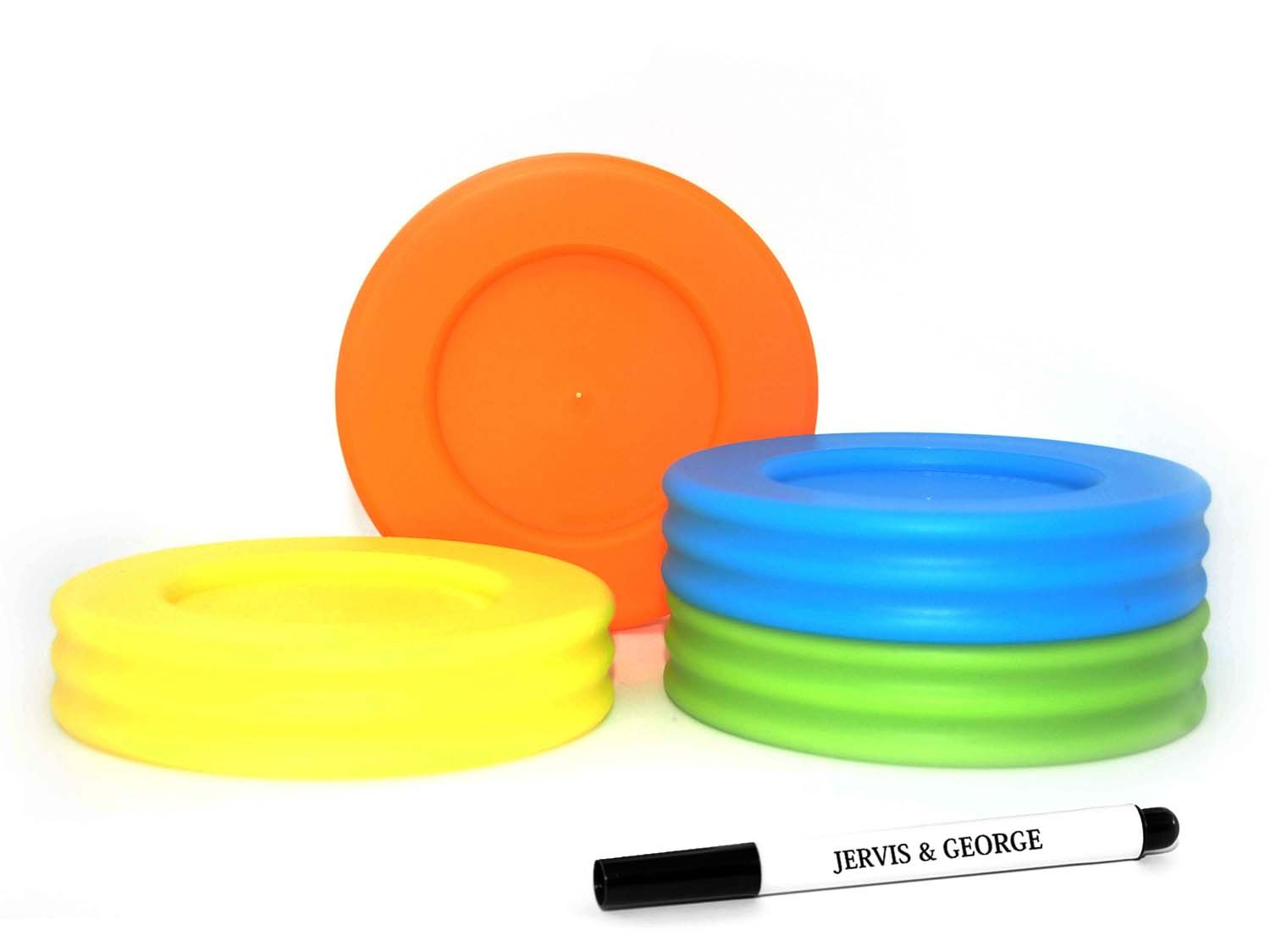 Wide Mouth Mason Jar Lids - Compatible with Wide Mouthed Size Ball Jars - Reusable and Leak Proof Plastic Lids are BPA Free - Includes Pen for Marking - Green, Orange, Yellow & Blue - Pack of 4