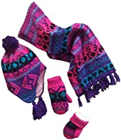 N'Ice Caps Little Girls and Infants Geo Print Sherpa Lined 3 Pc Knit Set