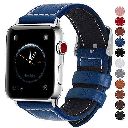 Fullmosa Compatible Apple Watch Band Leather 42mm 44mm 38mm 40mm for iWatch Series 5/4/3/2/1,42mm/44mm Dark Blue + Silver Buckle