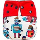 """HappyEndings """"Night, Night""""TM Charcoal Bamboo All In One Diaper (+Pocket & 5 Layer Charcoal Bamboo Insert) """"Hipster Robots"""""""