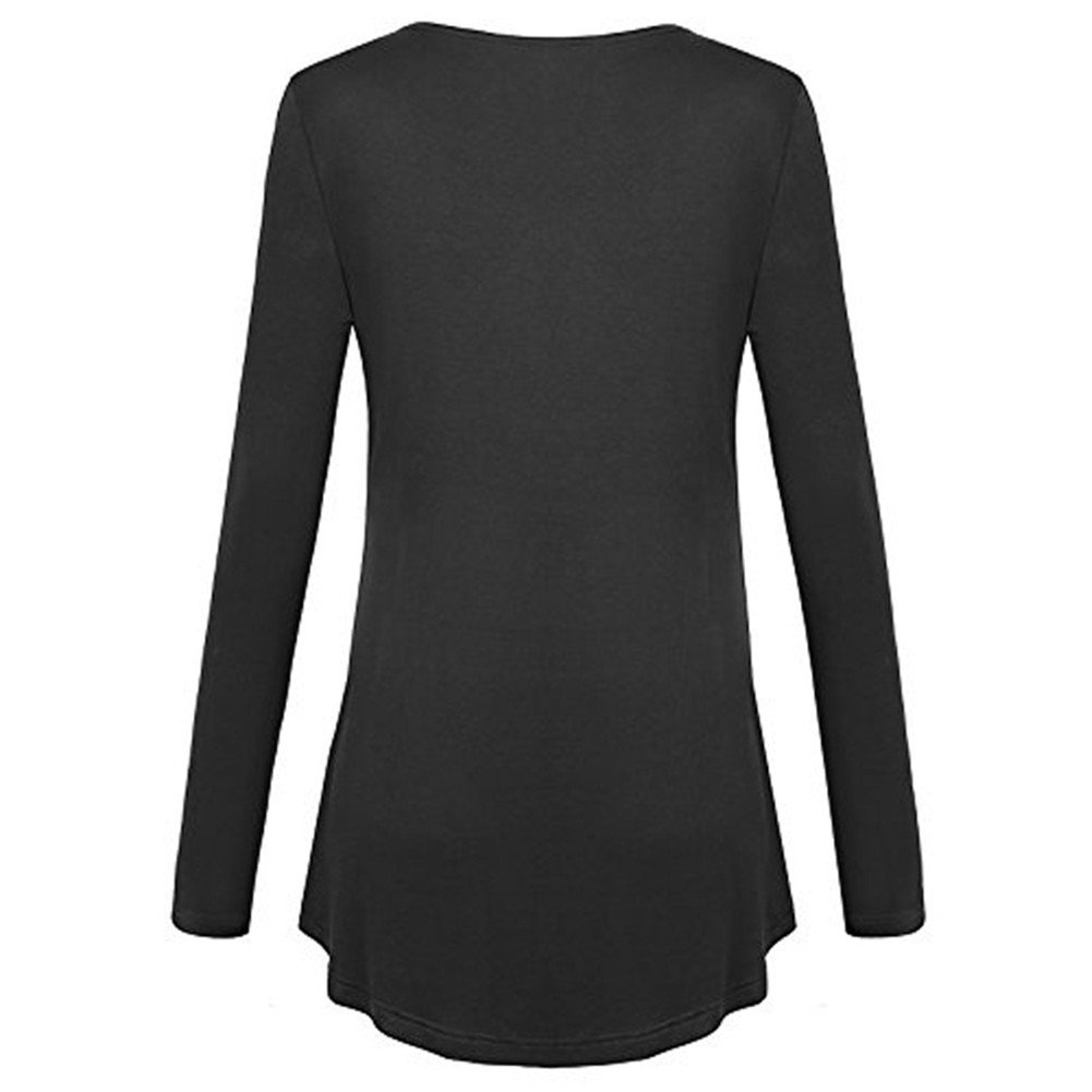 HILEELANG Womens Plus Size Tunic Tops Long Sleeve Loose Basic Shirt Flared Casual Blouse S-5XL