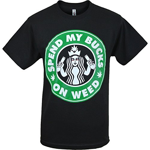 Mens Marijuana Enthusiast Weed Shirts (WeedBucks Black,