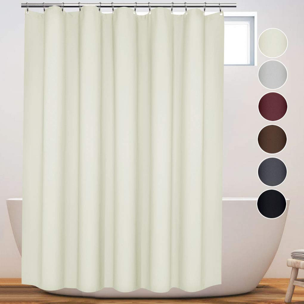 Eforcurtain Modern Hotel Solid Beige Shower Curtain Heavy Duty Extra Long 72 - Inch by 78 - Inch Water Repellent Cloth Shower Curtain Liner Washable Easy Care