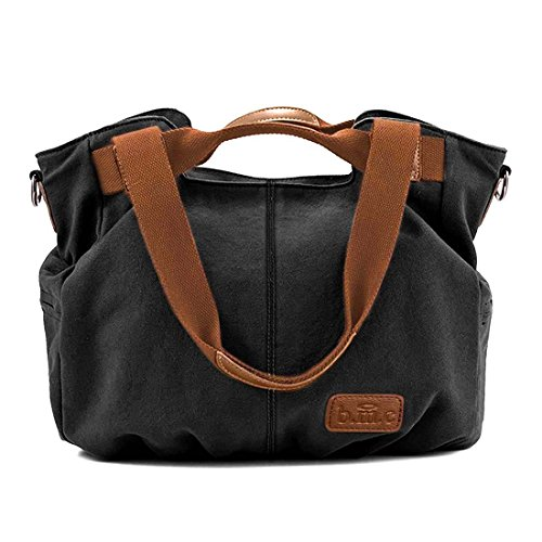 BMC Womens Charcoal Black Textured Canvas Double Top Handle Lightweight Shoulder Tote Travel Shopper - Double Tote Zipper