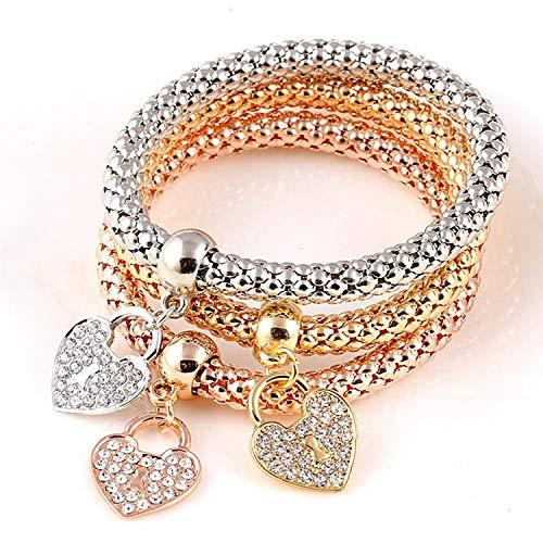 CNE2ES 3 Pcs/Set Crystal Charm Bracelets&Bangles Rose Gold Color Elephant Heart Pendant Rhinestone Bracelet Women,DY61AA15