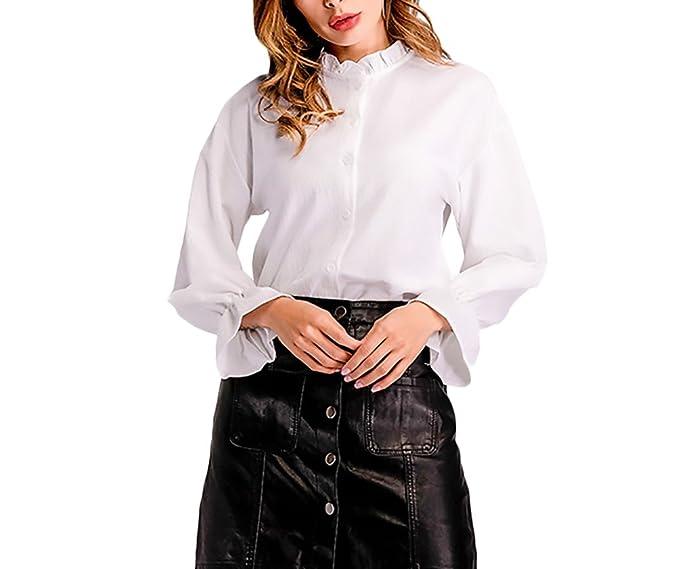 51b49f37f71475 Camicie Donna Eleganti Camicia di Chiffon Maniche Lunghe Monopetto con  Volant Mode Giovane Abbigliamento Coreana Casual