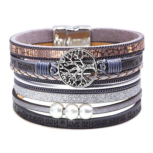 - Womens Leather Cuff Bracelet - Braided Wrap Bangle Handmade Multi Layer Jewelry - with Alloy Magnetic Clasp - Bohemian Style (Tree of life-Lavender)