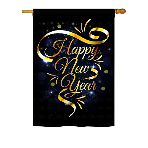 Ornament Collection - Gold Happy New Year Winter - Seasonal Impressions Decorative Vertical House Flag 28