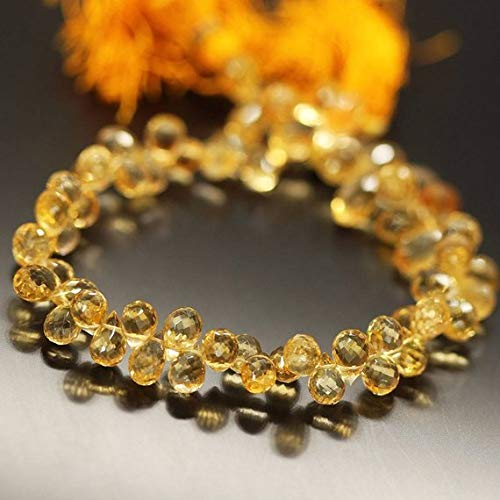 Beads Bazar Natural Beautiful jewellery Golden Yellow Citrine Faceted Briolette Tear Drop Gemstone Loose Craft Beads Strand 11