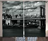 Ambesonne New York Curtains Decor, Black and White Panorama of New York City Skyline with Focus on Manhattan Bridge Photo, Living Room Bedroom Window Drapes 2 Panel Set, 108 W X 84 L Inches, Grey