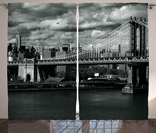 Ambesonne New York Curtains Decor, Black and White Panorama of New York City Skyline with Focus on Manhattan Bridge Photo, Living Room Bedroom Window Drapes 2 Panel Set, 108 W ()