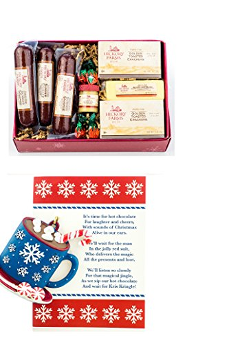 Hickory Farms Gift Set - Farmhouse Collection Sampler with Christmas Ornament and Card Stock - Includes Ornament, 3 Summer Sausages, Mission Jack Cheese, Sweet Hot Mustard, and Golden Toasted Crackers