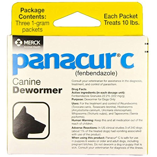 Panacur C Canine Dewormer Dogs 1 (3 Packets) Gram Each Packet Treats 10 lbs by Panacur C Canine Dewormer