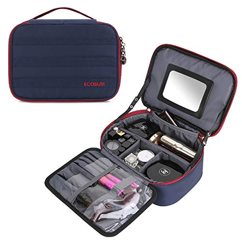 5b0eb51adc0 ECOSUSI Travel Makeup Bag Cosmetic Bag Organizer with Removable Mirror and Adjustable  Dividers