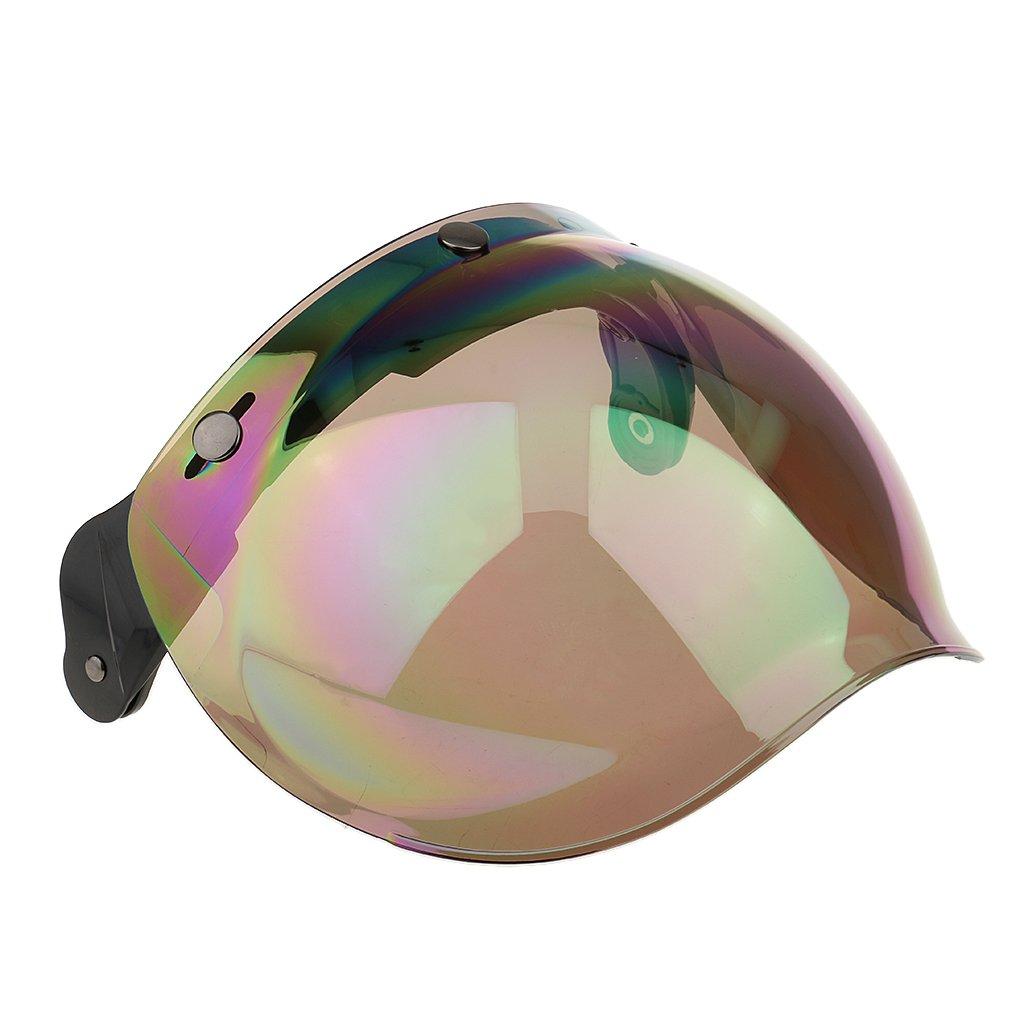 MagiDeal Motorcycle 3 Snap Helmet Visor Shield Flip Up Down Lens for Harley - Tawny