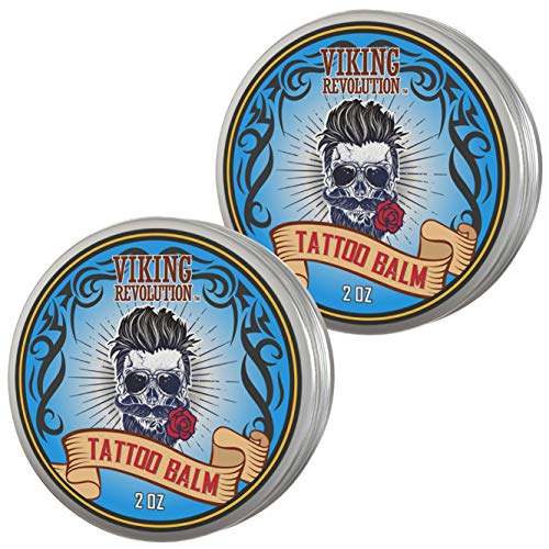 Viking Revolution Tattoo Care Balm for Before, During & Post Tattoo - Safe, Natural Tattoo Aftercare Cream - Moisturizing Lotion to Promote Skin Healing - Tattoo Brightening Treatment (2 Pack)